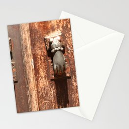 Antique wooden door with hand knockers Stationery Cards