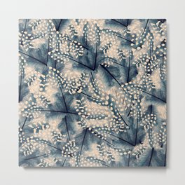 Ancona feathers - smooth beige with blue Metal Print