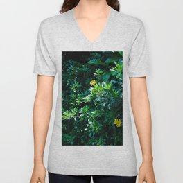 Yellow flowers by the bush Unisex V-Neck