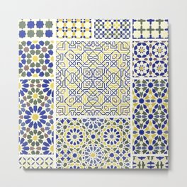 Middle Eastern Tile Patterns in Blue and Yellow Metal Print