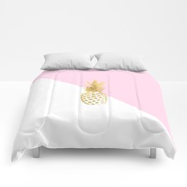 Pink white colorblock gold geometrical pineapple Comforters