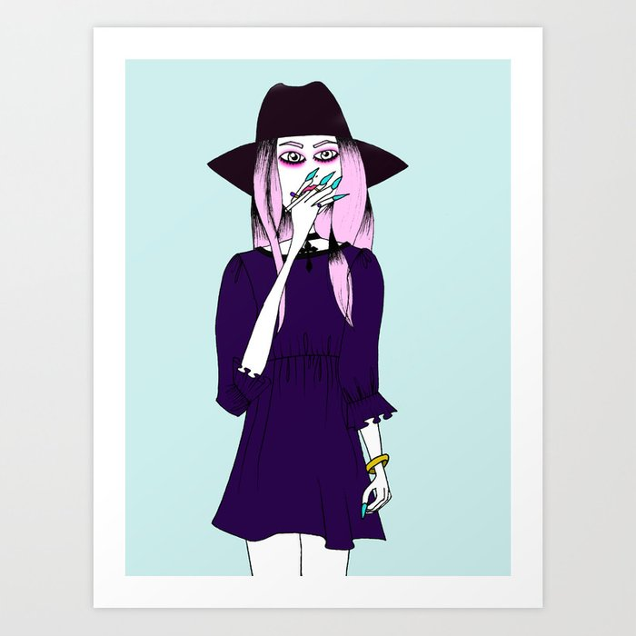 smoking witch Art Print