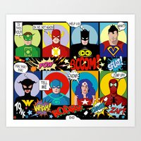 super heroes Art Prints featuring Super Heroes by Chicca Besso