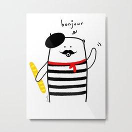 French Bear Metal Print