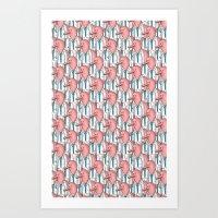 Pink Dolphin Pattern Art Print