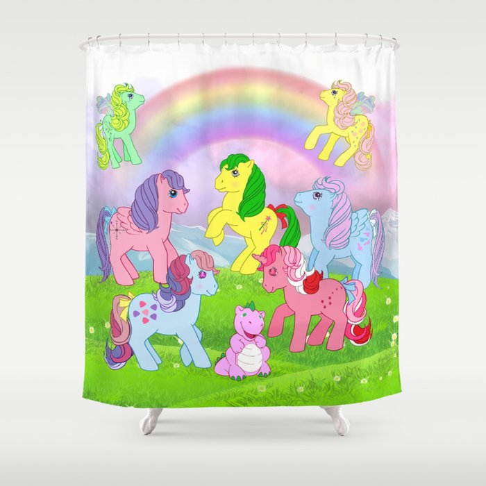 G1 My Little Pony Collage Shower Curtain By Gertee Society6