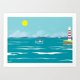 The ship in the sea Art Print