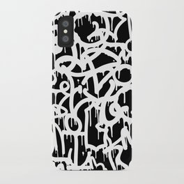 Black and White Graffiti Pattern iPhone Case