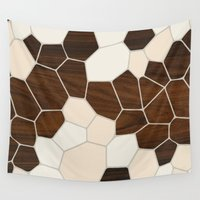 geode Wall Tapestries featuring Geode in Cream by jefdesigns