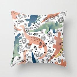 Dinos in the Garden Throw Pillow