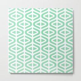 Mid Century Modern Split Triangle Pattern Mint Green Metal Print