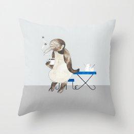 Penguin enjoys coffee Throw Pillow