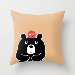 Apple Bear Throw Pillow