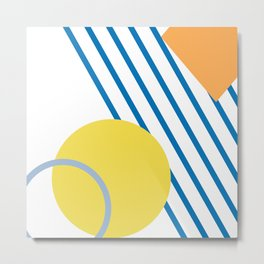 Abstract Summer Print with Shapes and Stripes Metal Print