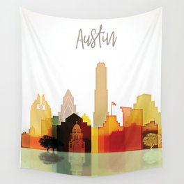 Austin colorful skyline Wall Tapestry