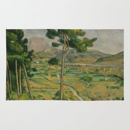 """Paul Cezanne """"Mountain Sainte-Victoire and the Viaduct of the Arc River Valley"""" Rug"""