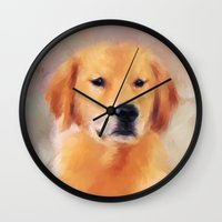 golden retriever Wall Clocks featuring Golden Retriever by Jai Johnson