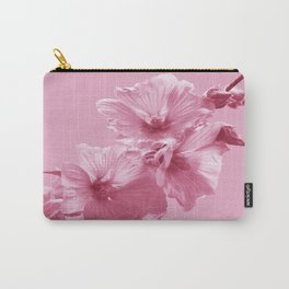 Pink Mallow Flowers Photo to Paint in Pink Carry-All Pouch