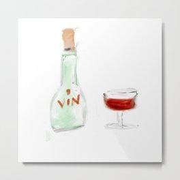 bottle of wine Metal Print
