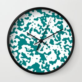 Spots - White and Dark Cyan Wall Clock