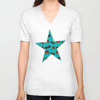 fez V-neck T-shirts featuring Red Fez & Bow Tie (on teal green) by Bohemian Bear by Kristi Duggins