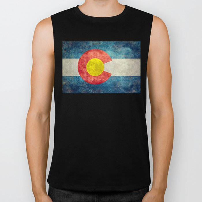 Colorado State Flag in Vintage Grunge Biker Tank