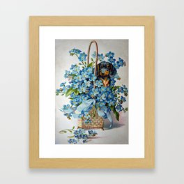 Dachshund and Forget-Me-Nots Framed Art Print