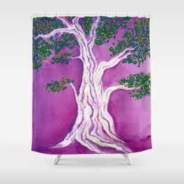 Tree on Fushia Shower Curtain
