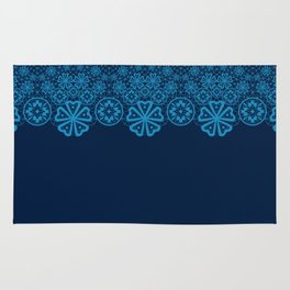 Retro Vintage Blue lace on dark blue background Rug