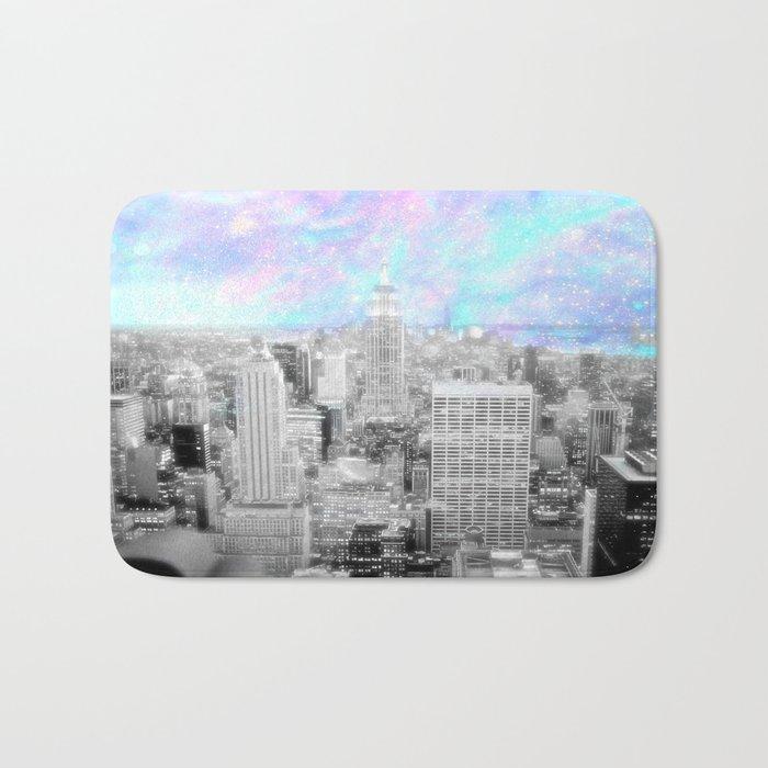 New York City. Pink Lavender Periwinkle Aqua Skies Bath Mat