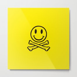 Fatboy Slim acid house smile face with crossed bones. For ravers! Metal Print