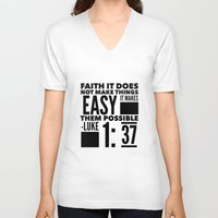 bible verse V-neck T-shirts featuring Faith Does Not Make Things Easy- Biblical Verse by PA Melvin
