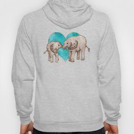 Baby Elephant Love - sepia on watercolor teal Hoody