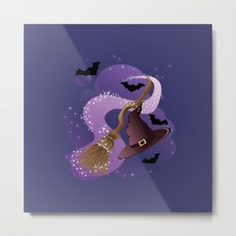Witch hat and broom Metal Print