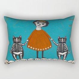 Day of the Dead Cats Rectangular Pillow
