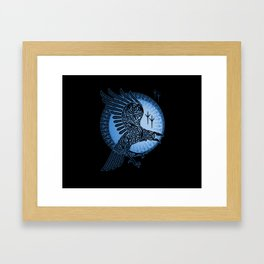 Viking Raven of Death - Blue Framed Art Print