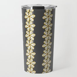 BELLIS floral daisy chain ochre yellow dark taupe background Travel Mug