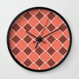 Living Coral and Mauve Moroccan Tile Ornamental Pattern with White Border Wall Clock