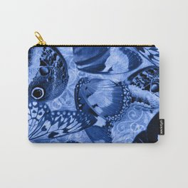 Blue Exotic Butterfly Wings and Scroll Collage Carry-All Pouch