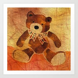 Teddy bear with a bow Art Print