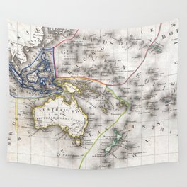 Vintage Map of Oceania (1852) Wall Tapestry