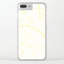 Paris France Minimal Street Map - White on Yellow Clear iPhone Case
