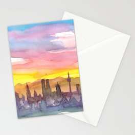 Munich Bavaria Skyline in Golden Sunset Mood Stationery Cards