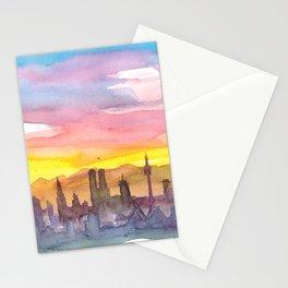 Munich Bavaria Skyline in Golden Sunset Mood Stationery Cards