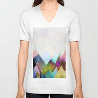 mountain V-neck T-shirts featuring Graphic 104 by Mareike Böhmer
