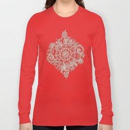 Cream Floral Moroccan Pattern on Deep Indigo Ink Long Sleeve T-shirt