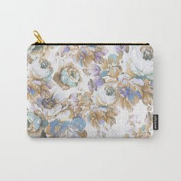 Vintage blush lavender brown teal blue roses floral Carry-All Pouch