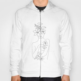 Minimal Line Art Woman with Flowers IV Hoody