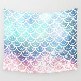 Mermaid Scales Turquoise Pink Sunset Wall Tapestry