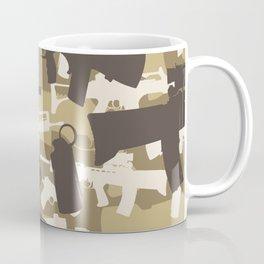 Military Camouflage Neck Gator Brown Camo Weapons Coffee Mug